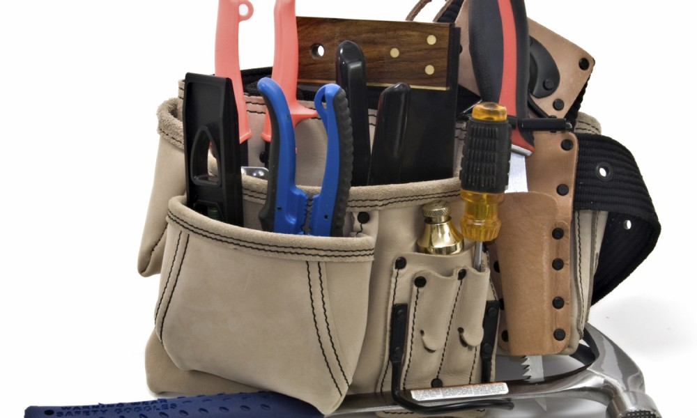 Construction Worker's Tool Belt with Hand Tools